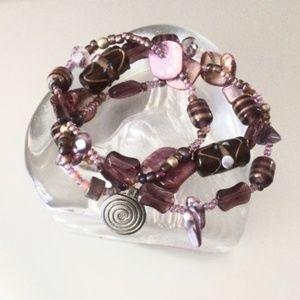 Jewelry - Spiral Pendant Shell and Glass Stretch Bracelets